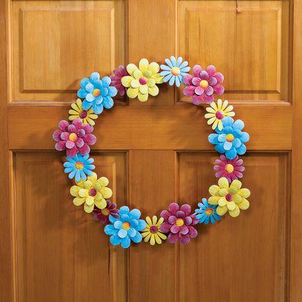 """16"""" Metal Pastel Floral Wreath-369043"""