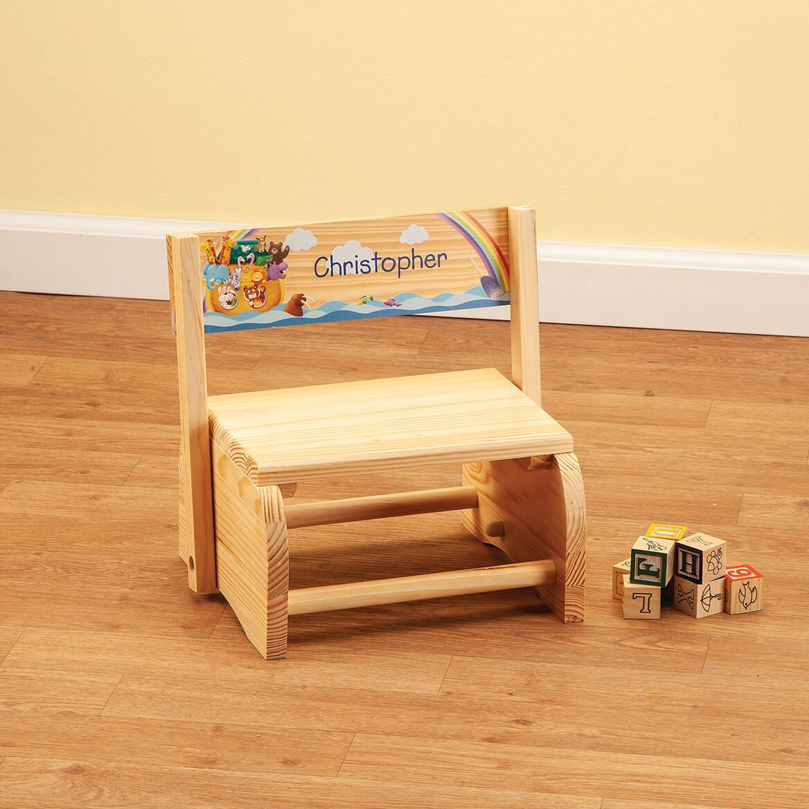 Personalized Natural Noah's Ark Step Stool-369044