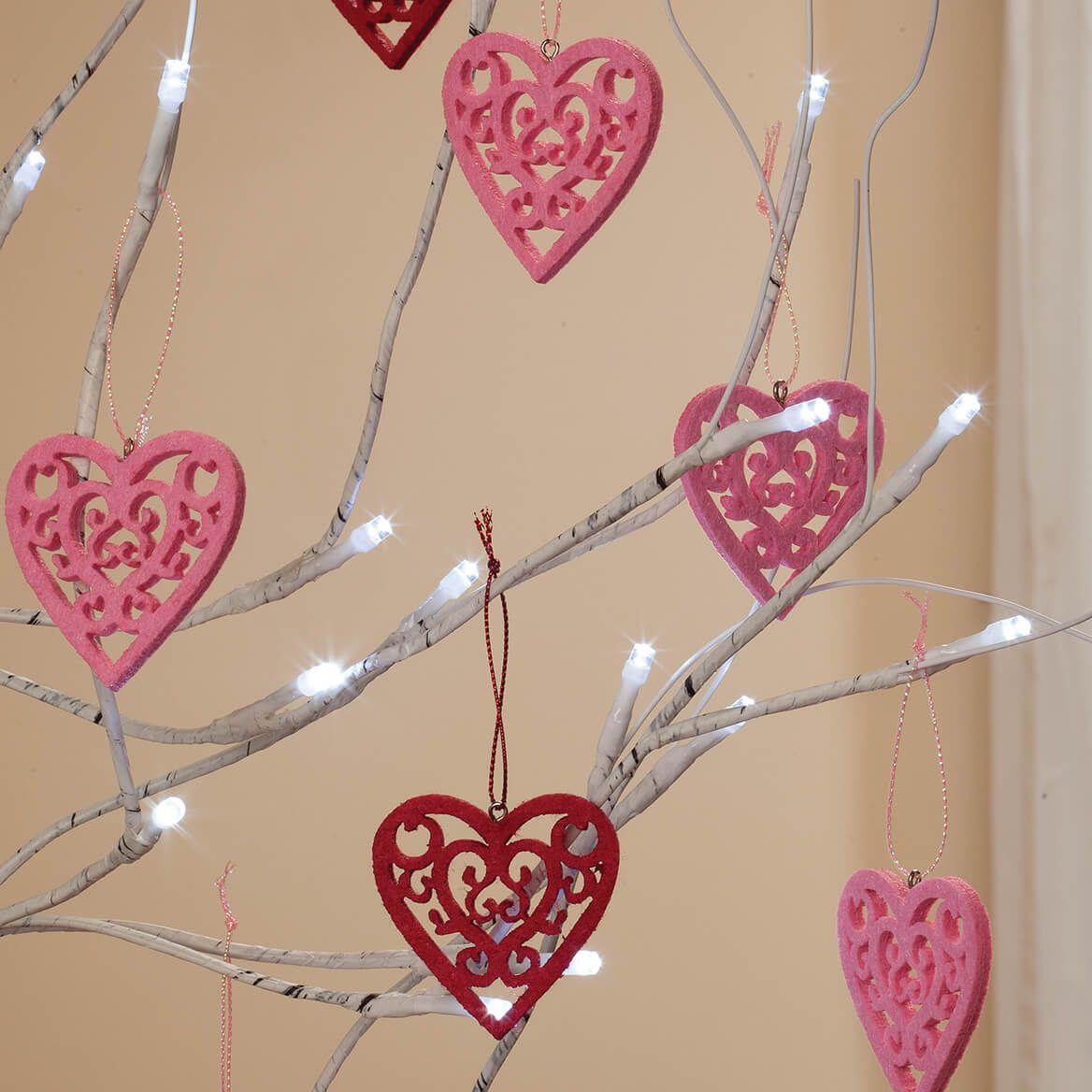 6' Birch Tree with 20 Valentine Ornaments-369047