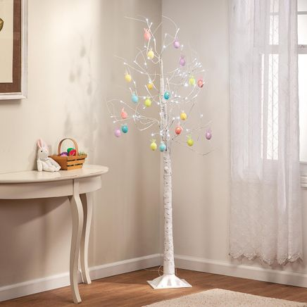 6' Birch Tree with 20 Easter Ornaments-369049