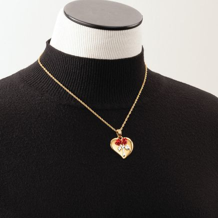 Heart Pendant with Satin Roses Necklace-369070