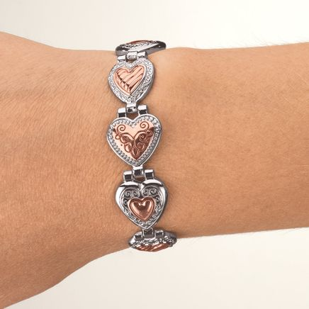 Copper and Silver Hearts Magnetic Bracelet-369071