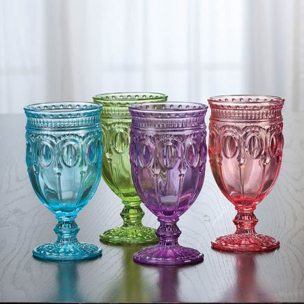 Victoria Pressed Glass Goblets by William Roberts, Set of 4-369139