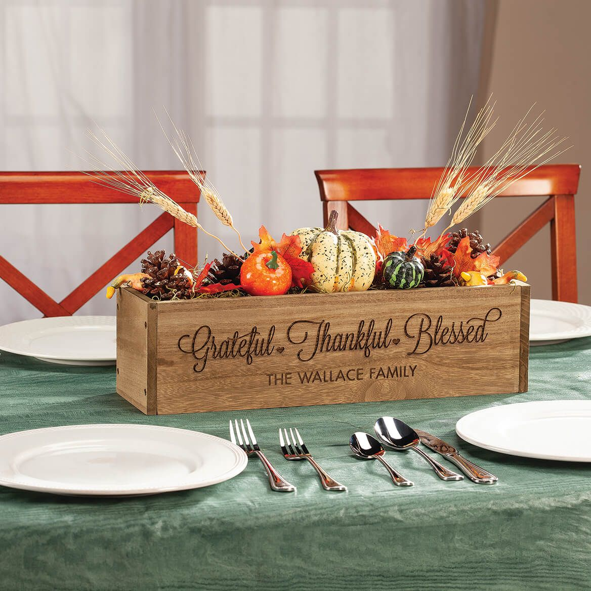 Personalized Wooden Planter Box, Grateful Thankful Blessed-369252