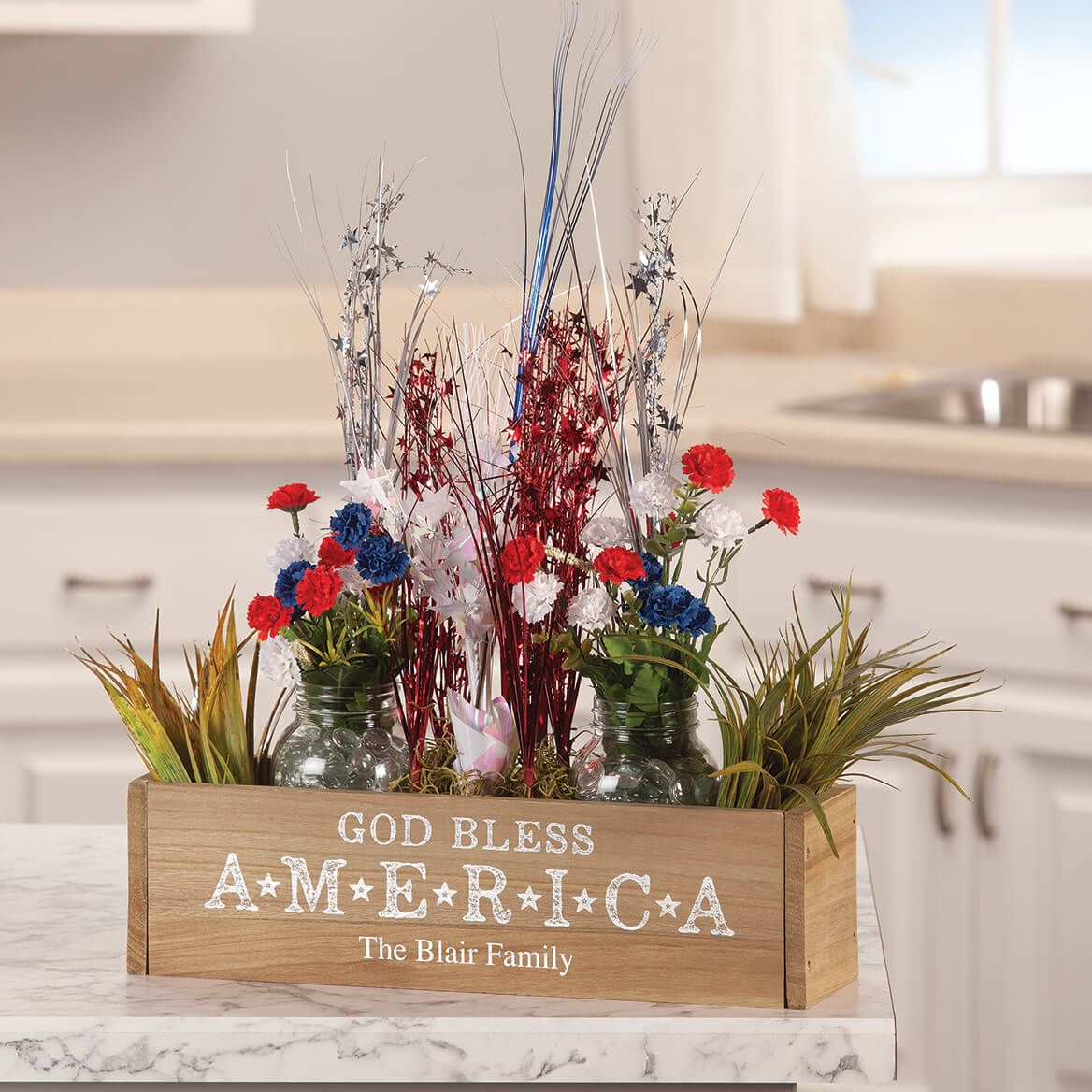 Personalized Wooden Planter Box, God Bless America-369259