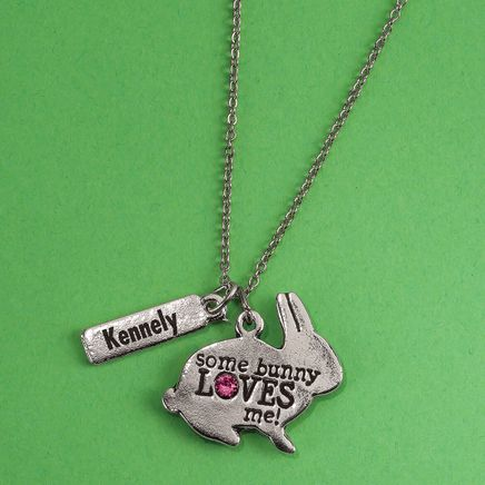 Personalized Some Bunny Loves Me Children's Necklace-369284