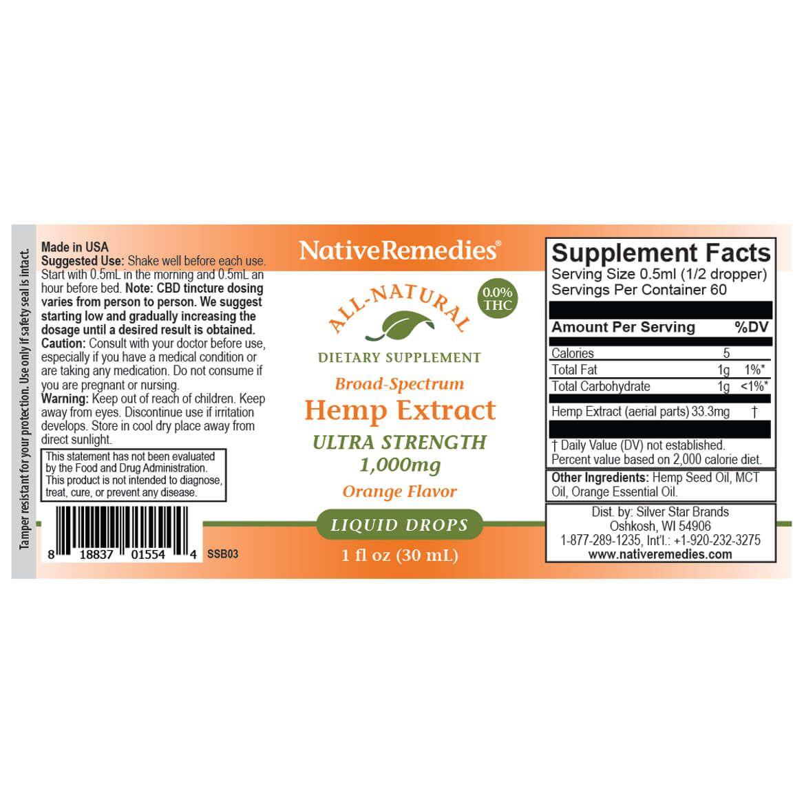 NativeRemedies® Ultra-Strength Hemp Extract 1000 mg-369291