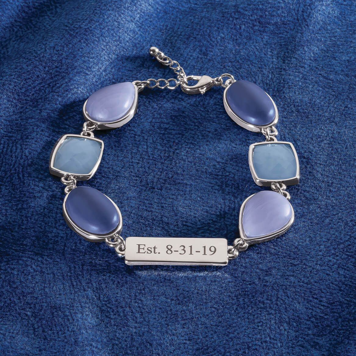 Personalized Blue Stone and Lace Agate Bracelet-369352