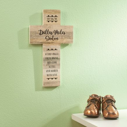Personalized Rustic Style Cross, New Baby-369435