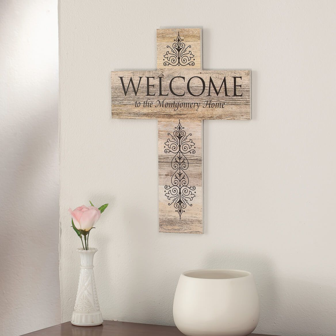 Personalized Rustic Style Cross, Welcome-369437