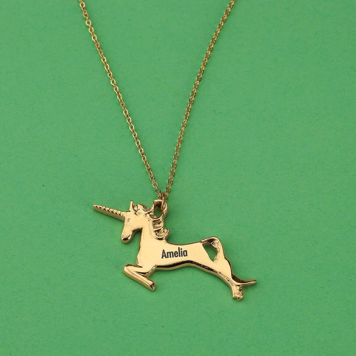 Personalized Children's Goldtone Unicorn Necklace-369439