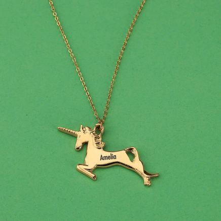 Personalized Children's Goldtone Unicorn Necklace-369439