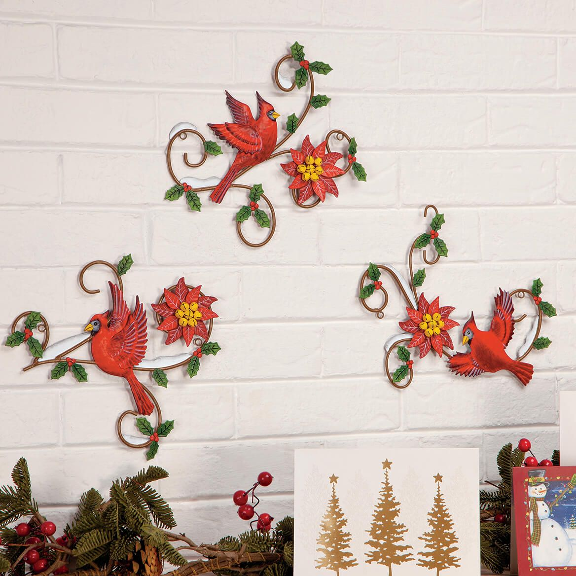 Metal Christmas Cardinal Plaques by Fox River™ Creations, Set of 3-369543