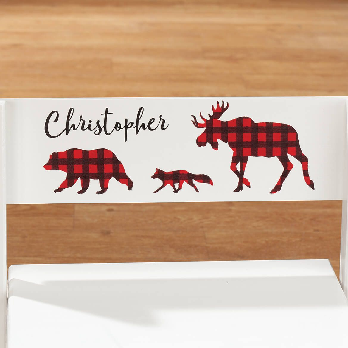 Personalized Children's White 2-in-1 Buffalo Plaid Stool-369611