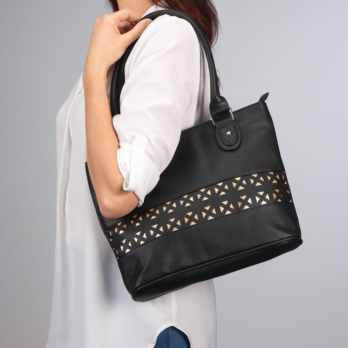 Laser Cut Shoulder Handbag-369658
