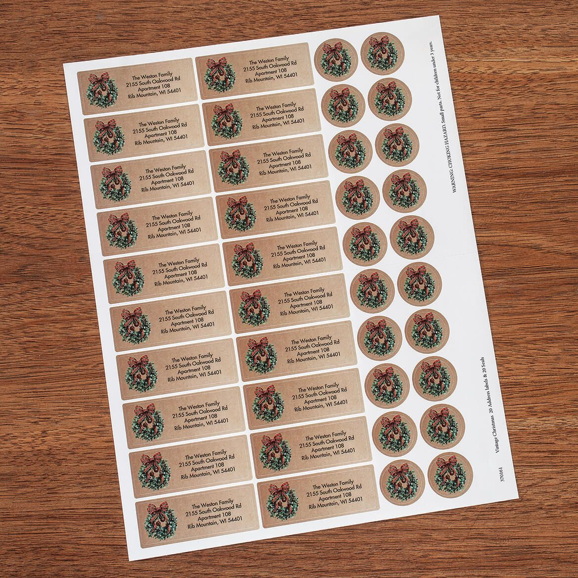 Personalized Vintage Christmas Labels and Envelope Seals 20-370161