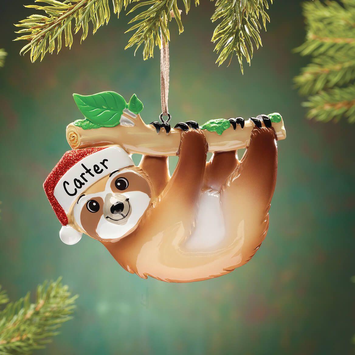 Personalized Santa Sloth Ornament-370549