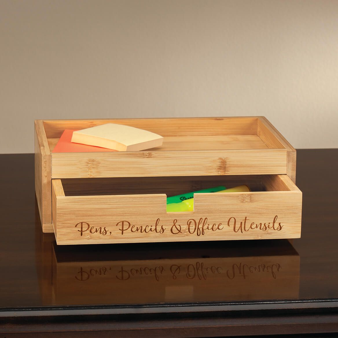 Personalized Bamboo Tray with Drawer-370623