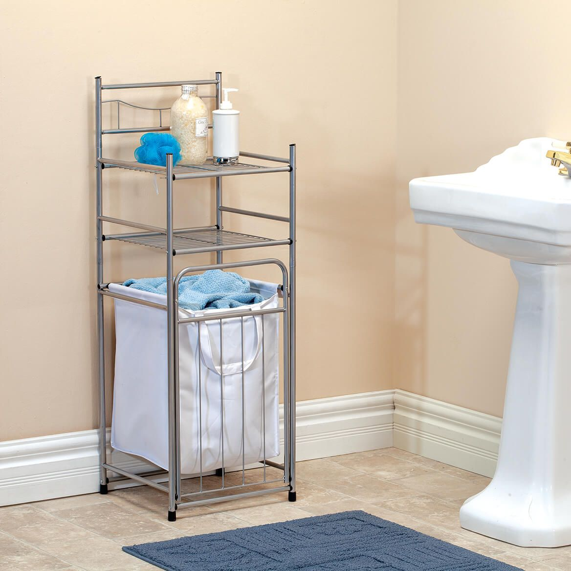 Brushed Nickel Tower with Hamper-370631