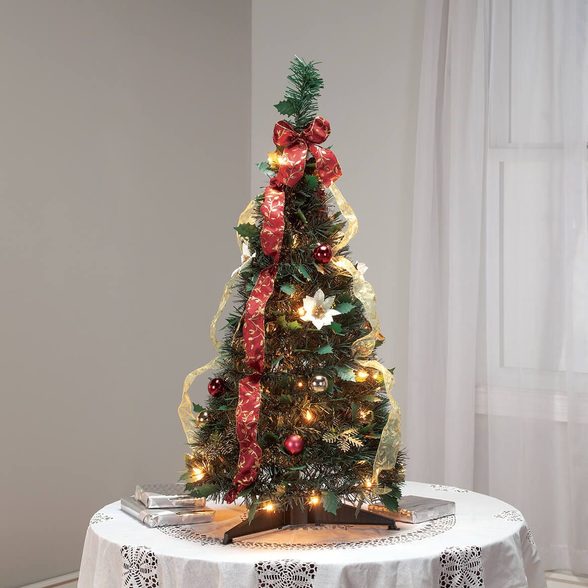 3' Burgundy & Gold  Victorian Pull-Up Tree by Holiday Peak™-370811