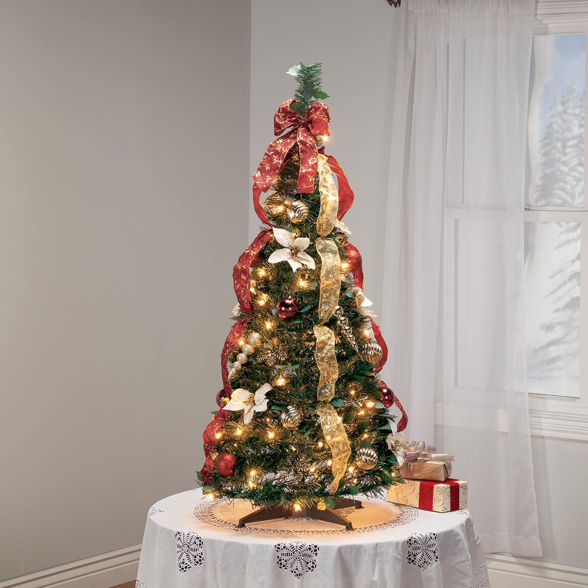 4' Burgundy & Gold  Victorian Pull-Up Tree by Holiday Peak™-370812
