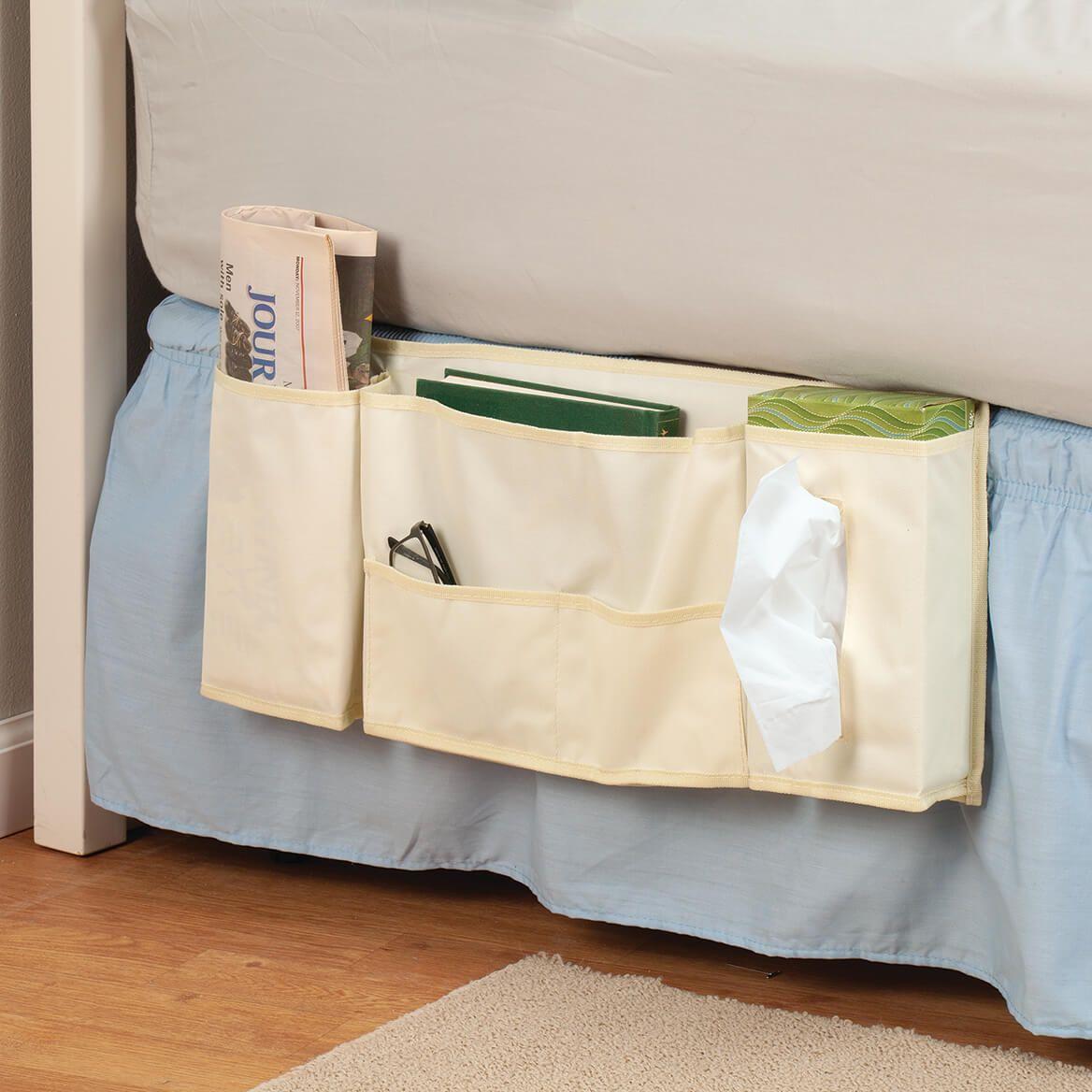 White Canvas Bedside Organizer Pockets-371066