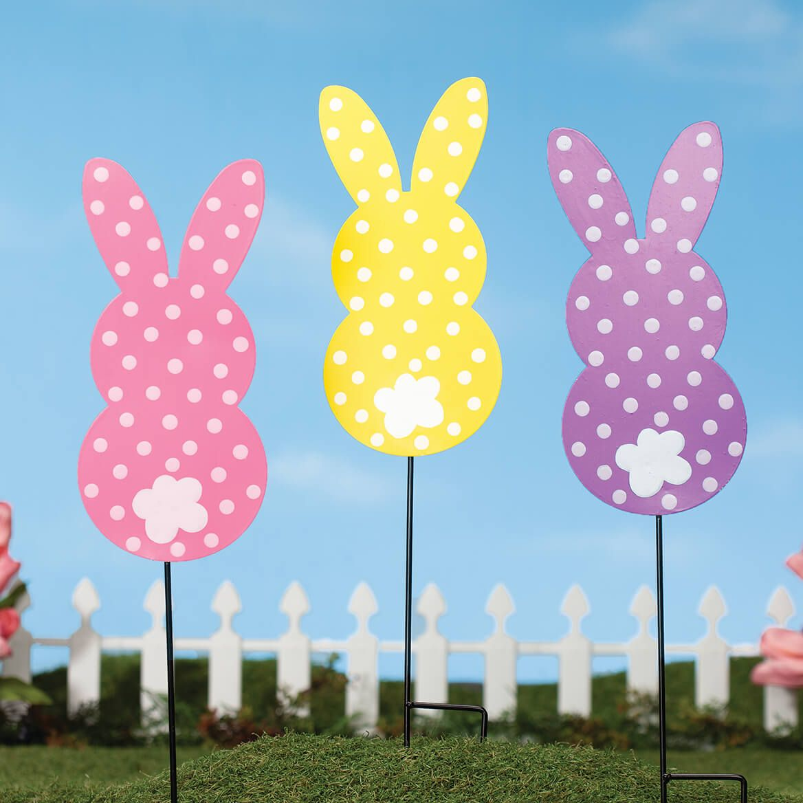 Polka Dot Bunny Stakes, Set of 3 by Fox River™ Creations-371176
