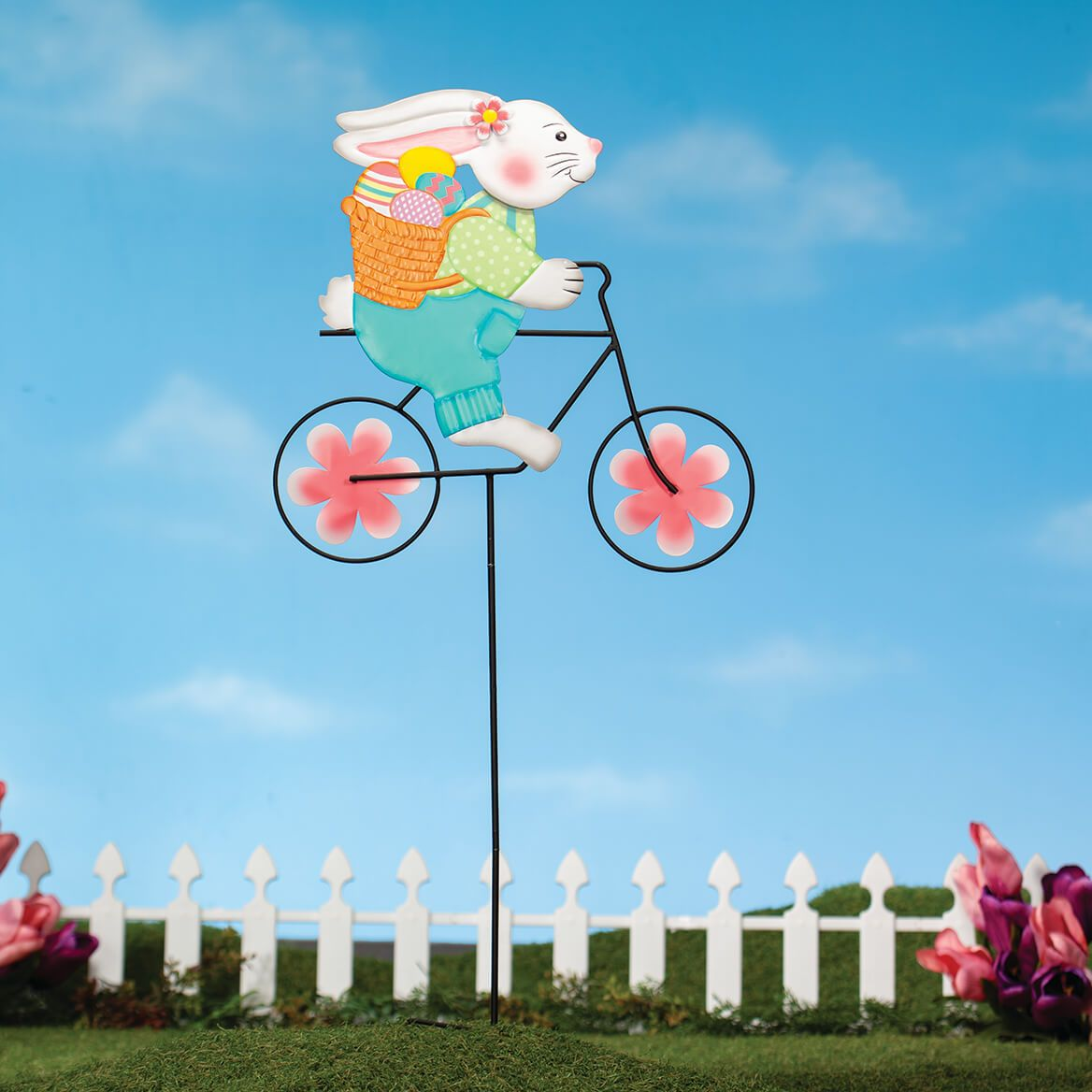 Metal Bunny on Bike Spinner Stake by Fox River™ Creations-371182