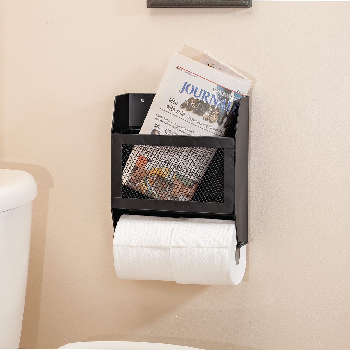 Metal Double Toilet Paper Holder with Organizer-371229