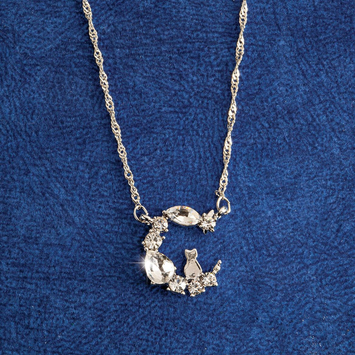 Swinging Cat in the Moon Crystal Necklace-371361