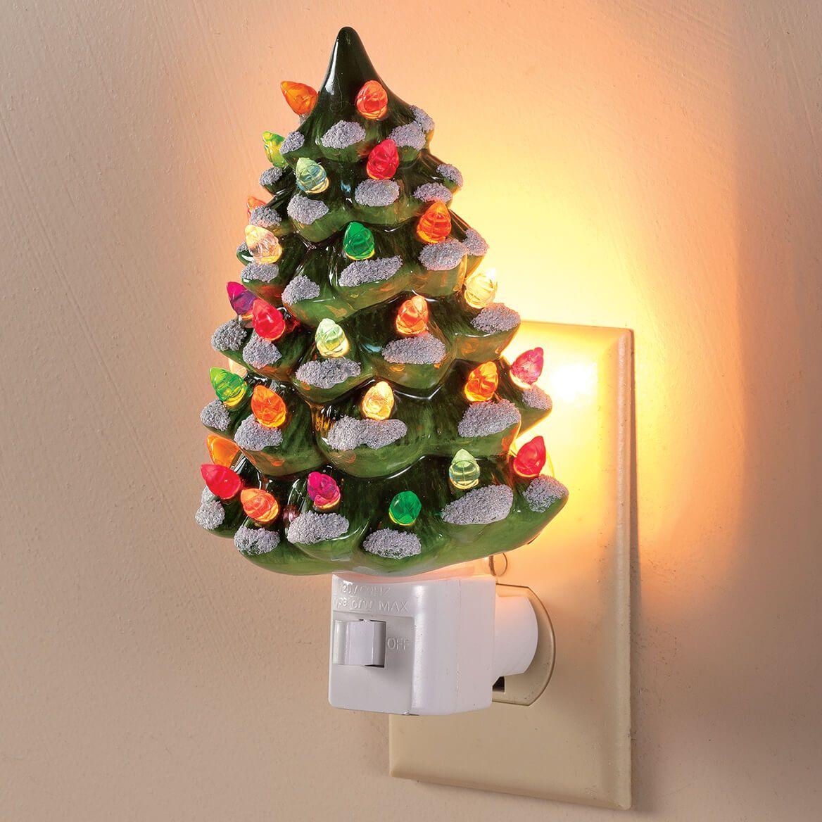 Green Snow-Capped Ceramic Tree Night Light, Set of 2-371418