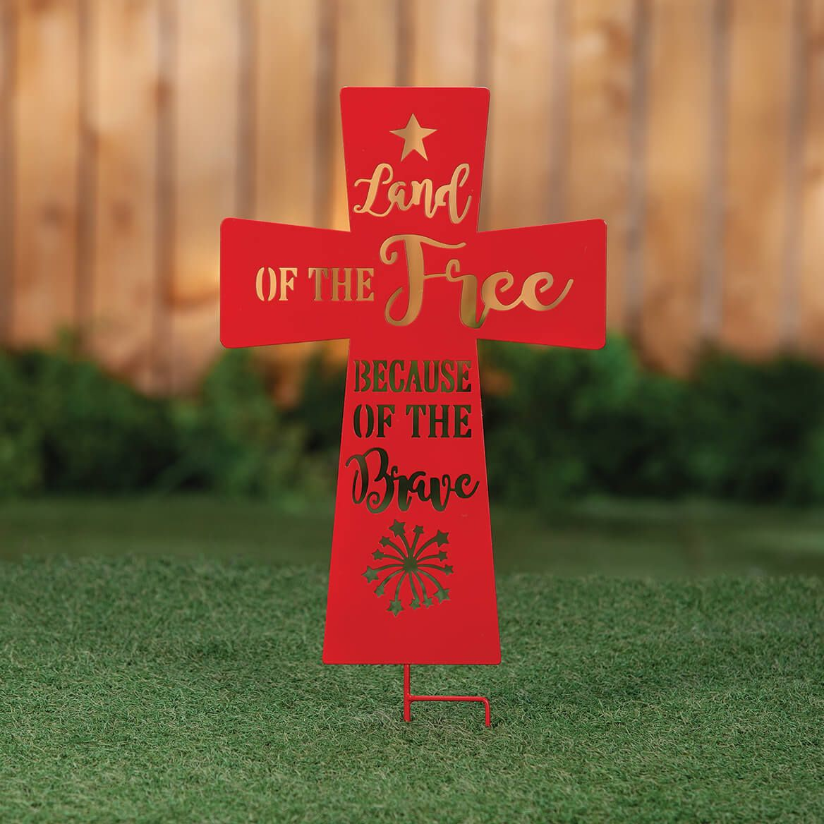 Land of the Free Metal Cross Stake by Fox River™ Creations-371711