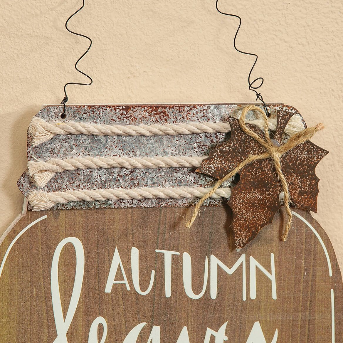 Autumn Leaves Mason Jar Wall Hanging by Holiday Peak™-371715