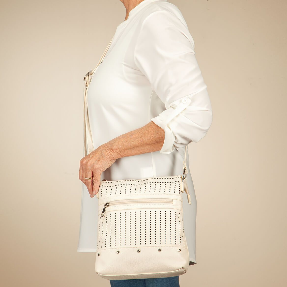 Perforated Crossbody with Front Zipper-371775