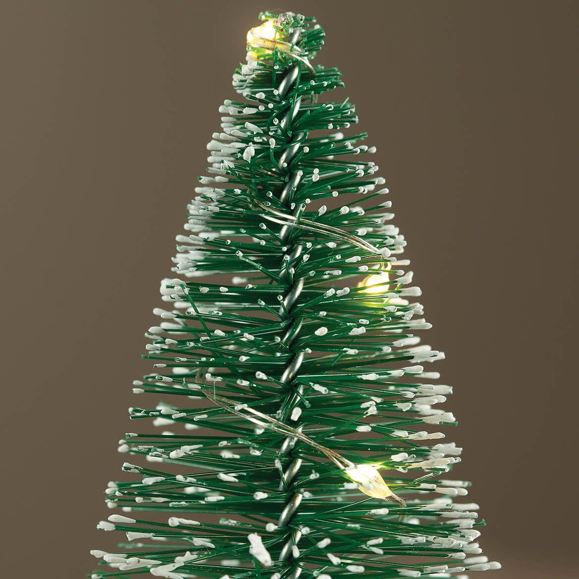 Light-Up Mini Bottlebrush Trees with Timer, Set of 5-371862