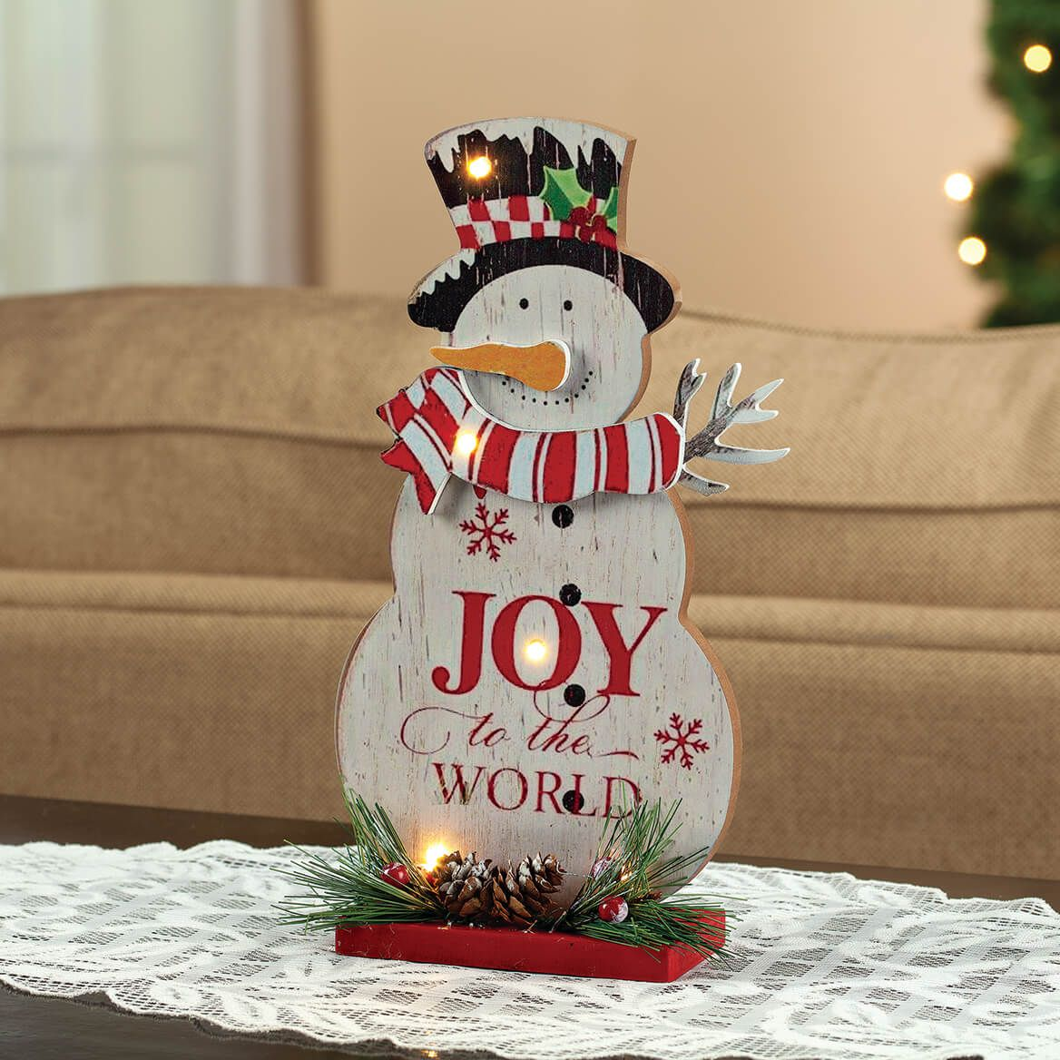 """""""Joy to the World"""" Lighted Snowman Tabletop Piece by Holiday Peak™-371866"""