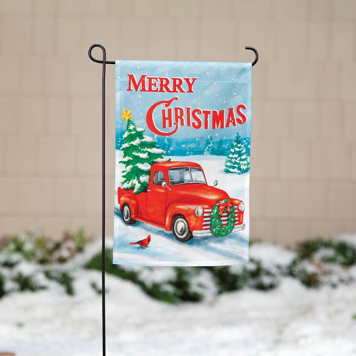 Merry Christmas Red Truck Garden Flag-371957