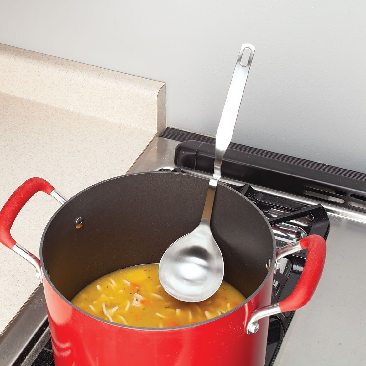 Stainless Steel Soup Ladle with Rim Rest-372010