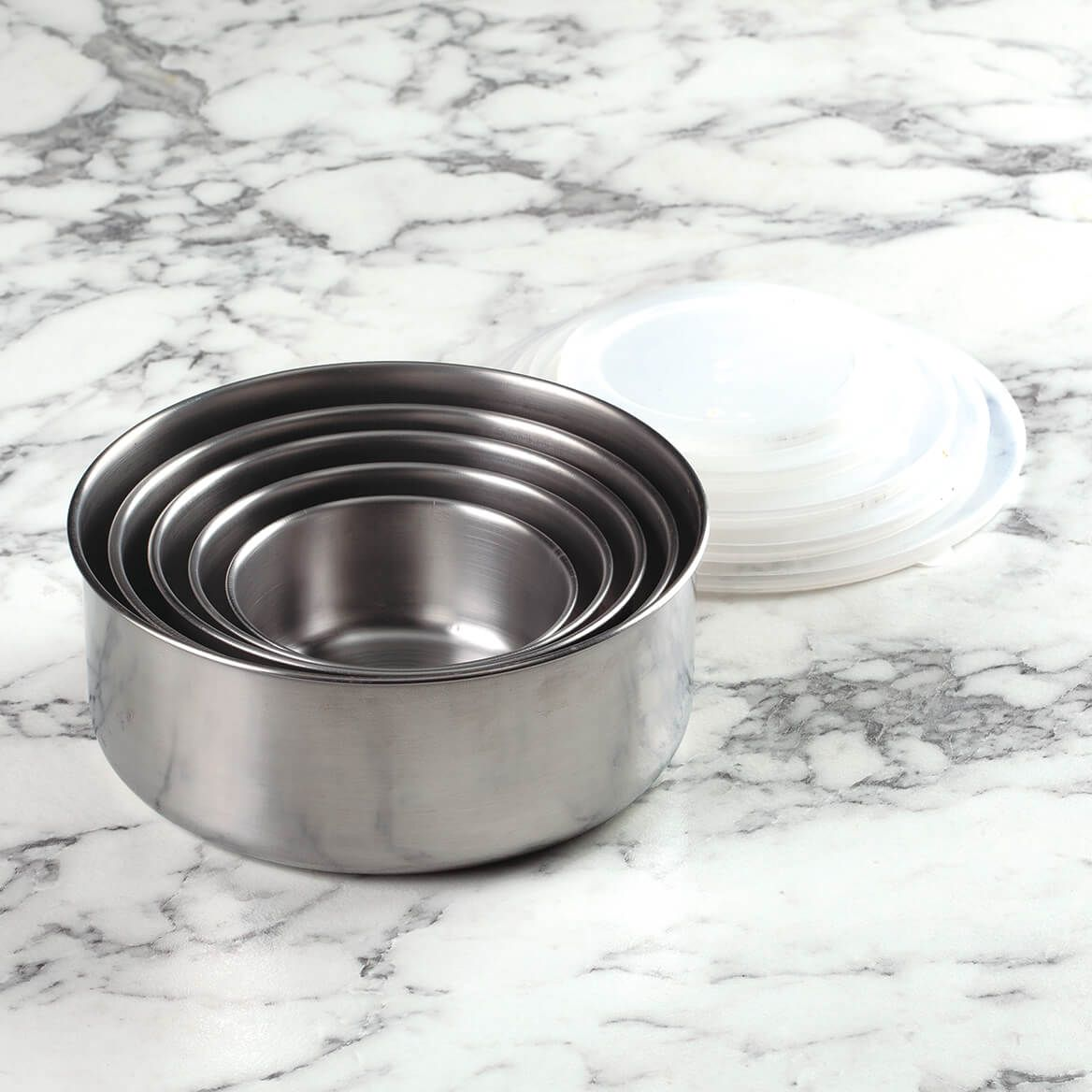 Stainless Steel Storage Bowls with Lids, Set of 5-372015