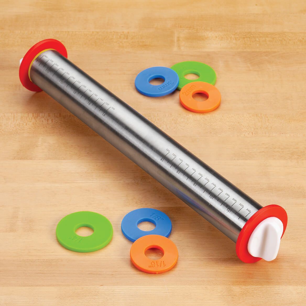 Stainless Steel Adjustable Rolling Pin with Rings-372022