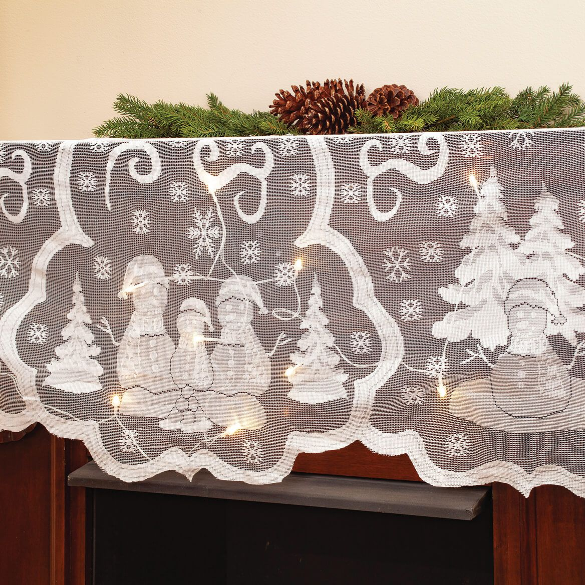 Battery-Operated Lighted Snowman Mantel Scarf-372127