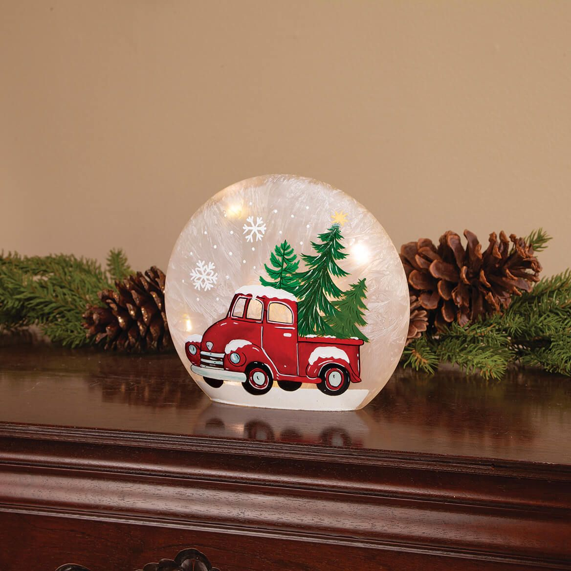 Red Truck Lighted Glass-372165