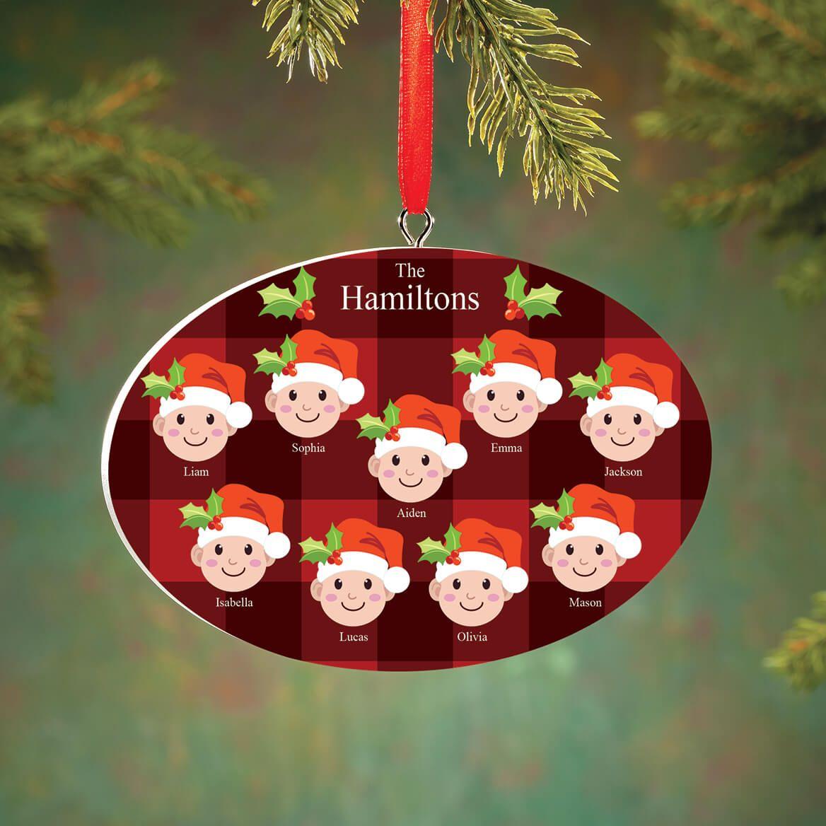 Personalized Light Skintone Santa Hat Family Ornament-372366