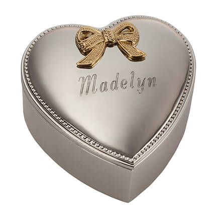 Silverplated Heart Box - Personalized-303369