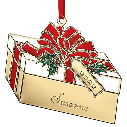 Personalized Brass Present Ornament-314158