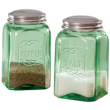 Green Depression Style Glass Salt & Pepper Shakers-315706