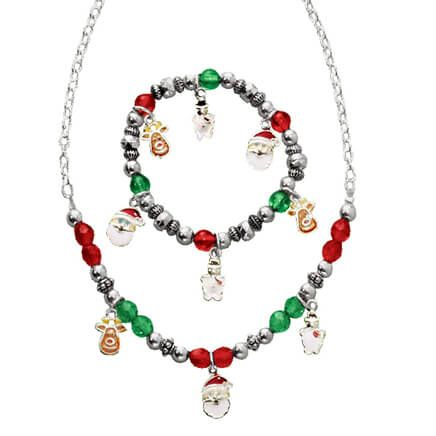 Child's Christmas Charm Bracelet and Necklace Val-316609