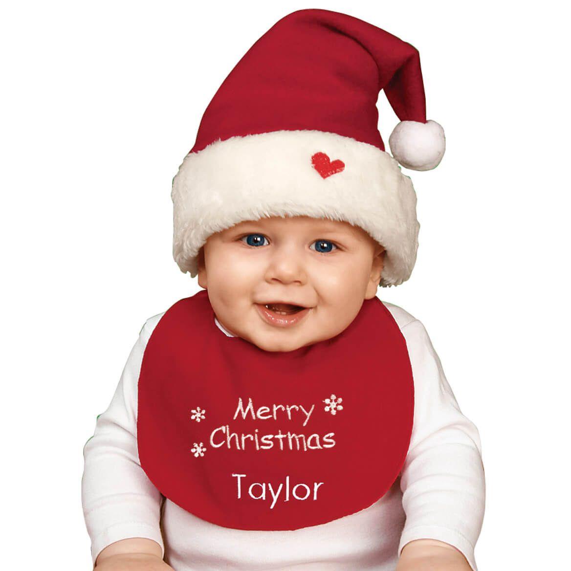 Personalized Childrens Christmas Hat & Bib Set-316844