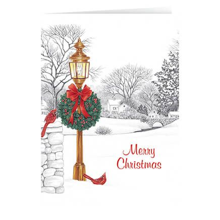 Personalized Lamppost Christmas Card Set of 20-330670
