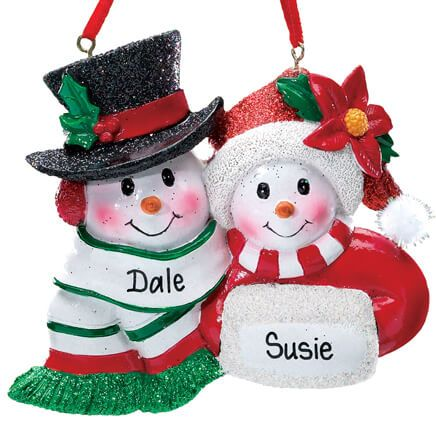 Personalized Snowmen Couple Christmas Ornament-339195